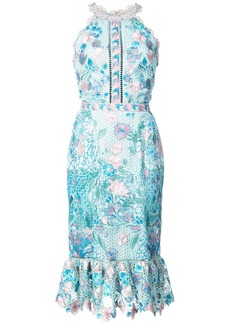 Marchesa Notte fitted lace flower dress - Blue