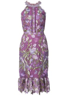 Marchesa Notte fitted lace flower dress - Pink & Purple