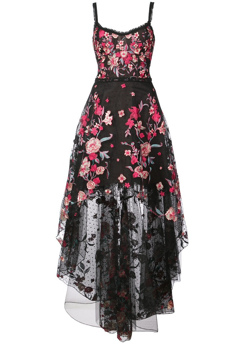 Marchesa floral appliqué high low gown