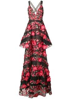 Marchesa floral appliqué peplum gown