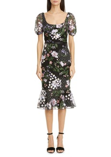 Marchesa Notte Floral Appliqué Tulle Cocktail Dress