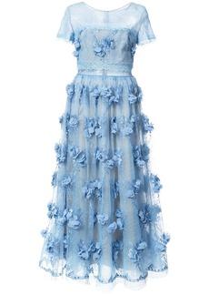Marchesa floral-appliquéd lace dress