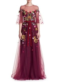 Marchesa Notte Floral Belted Gown