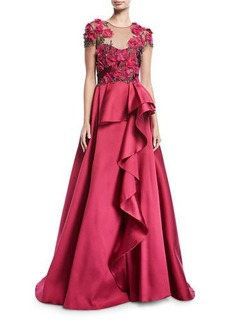 Marchesa Notte Floral-Bodice Illusion Ball Gown