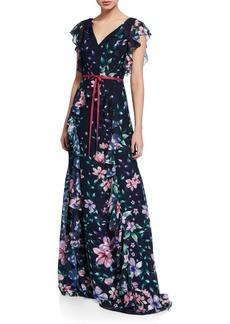 Marchesa Notte Floral Burnout Chiffon V-Neck Cap-Sleeve Gown w/ Ruffle Detailing