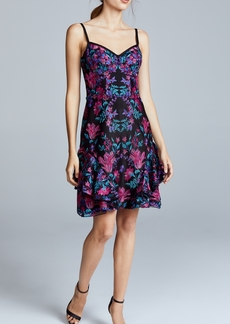 Marchesa Notte Floral Embroidered Cocktail Dress