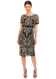Marchesa Notte Floral Embroidered Cocktail with Sheer Illusion Panel