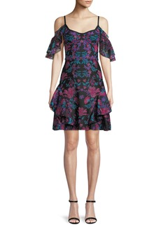Marchesa Floral Embroidered Cold-Shoulder Mini Cocktail Dress