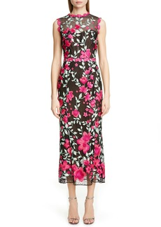 Marchesa Notte Floral Embroidered Crochet Midi Sheath Dress