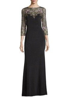 Marchesa Notte Floral Embroidered Evening Gown