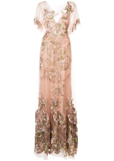Marchesa floral-embroidered gown