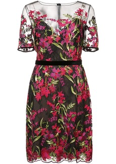 Marchesa Notte floral-embroidered lace dress - Black