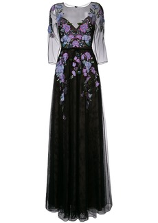 Marchesa Notte floral-embroidered lace gown - Black
