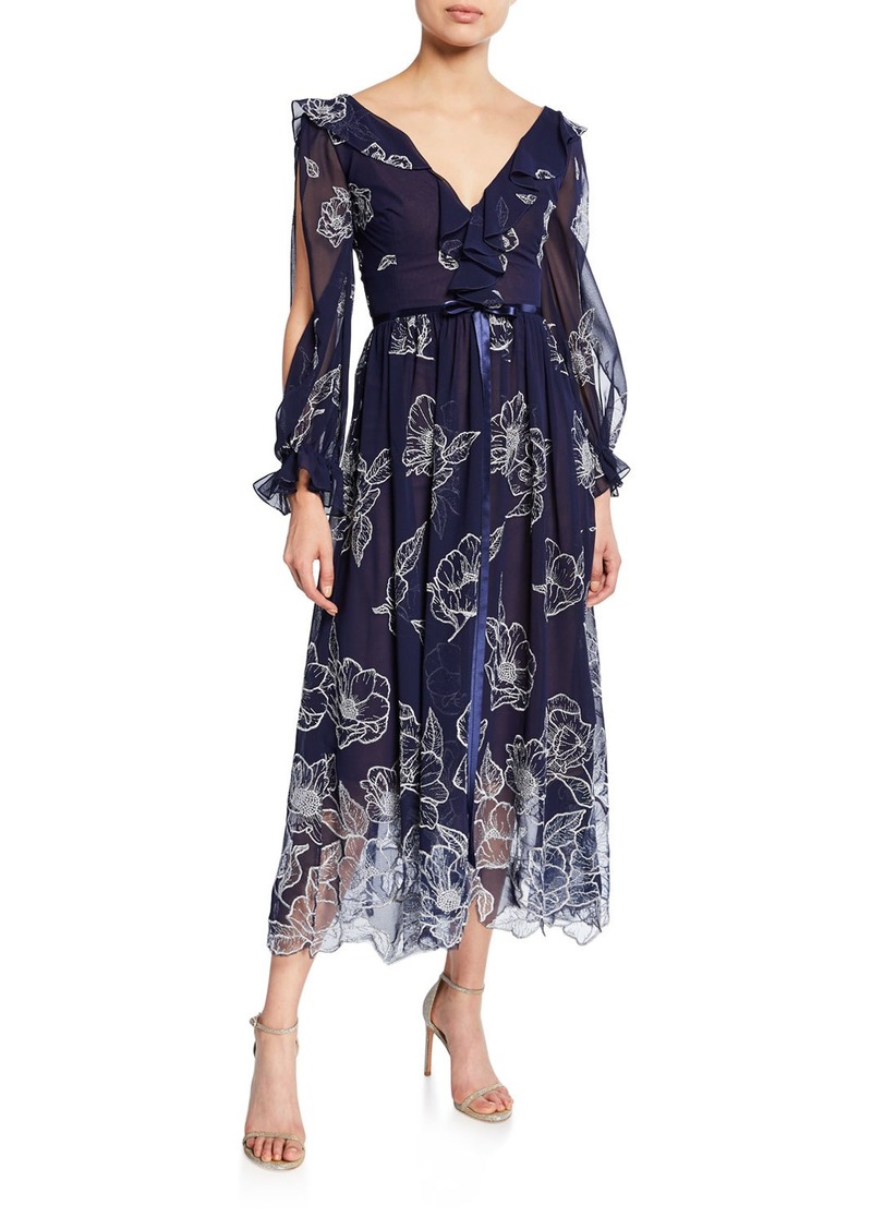 Marchesa Notte Floral Embroidered Long-Sleeve Tulle & Chiffon Dress w/ Ruffle Trim