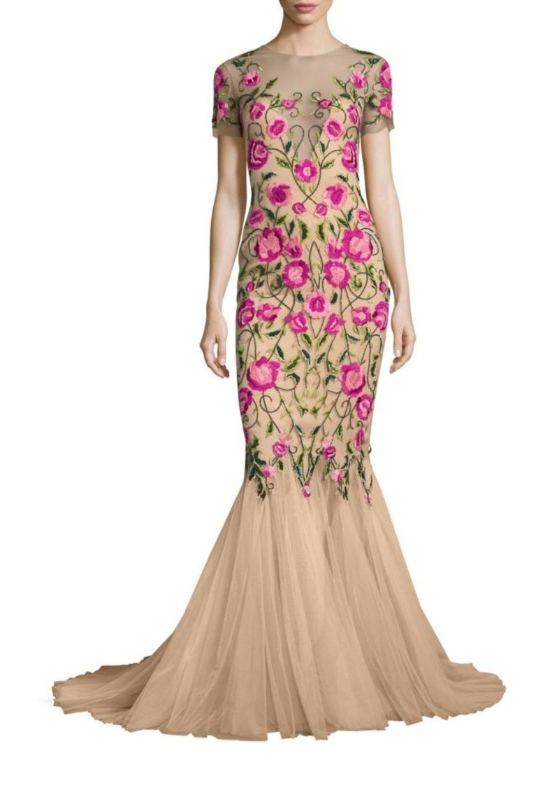 Marchesa Notte floral embroidered dress (€1.075) ❤ liked on Polyvore  featuring dresses,