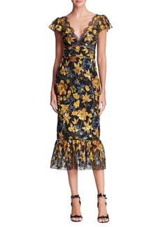 Marchesa Notte Floral Embroidered Midi Dress