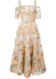 Marchesa floral-embroidered off-the-shoulder dress