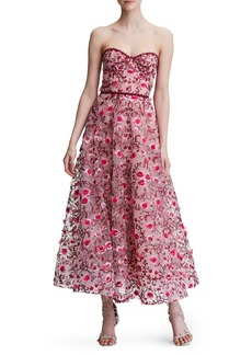 Marchesa Notte Floral Embroidered Strapless Tea Length Gown