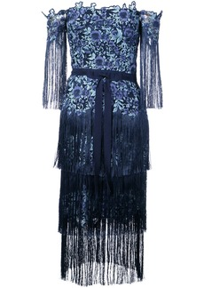 Marchesa Notte floral embroidered tassel dress - Blue