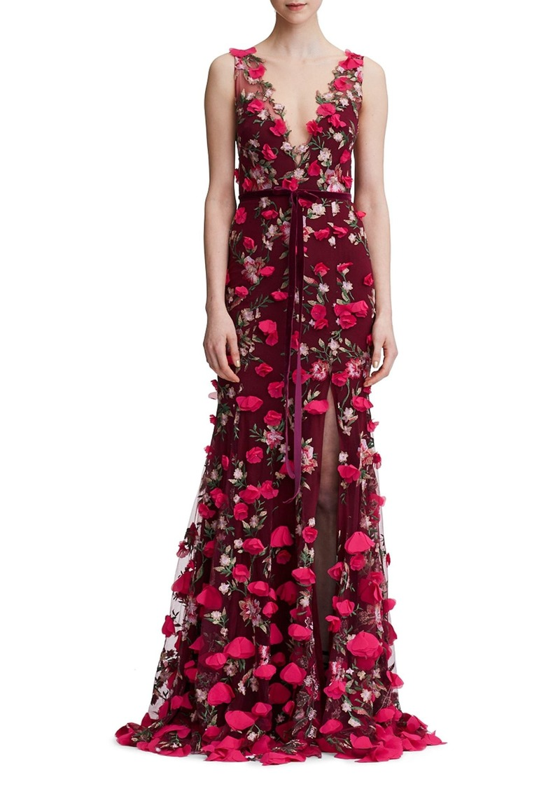 78d5022d8b4 Marchesa Marchesa Notte Floral Embroidered Trumpet Gown
