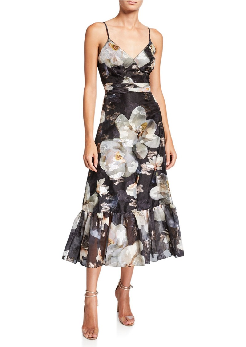 Marchesa Notte Floral Fils Coupe V-Neck Sleeveless Ruffle-Hem Dress with Lace-Trim
