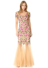 Marchesa Notte Floral Gown with Tulle