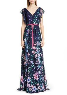 Marchesa Notte Floral Jacquard Chiffon Gown
