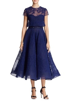 Marchesa Notte Floral Lace Fit-and-Flare Dress