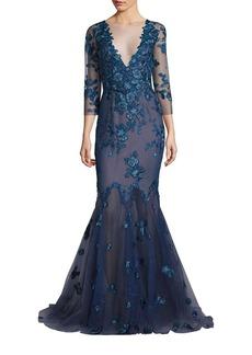 Marchesa Notte Floral Lace Mermaid Gown