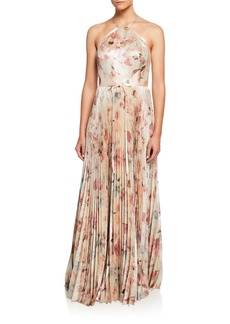 Marchesa Notte Floral Lame Halter Gown with Pleated Skirt