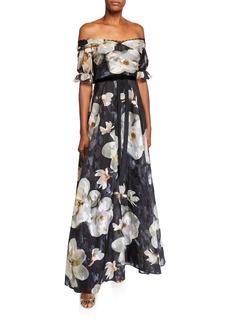 Marchesa Notte Floral Off-the-Shoulder Fil Coupe A-Line Gown