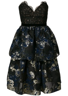 Marchesa Notte floral print and lace bustier dress - Black