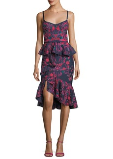 Marchesa Notte Floral-Print Scuba Ruffle Sheath Cocktail Dress