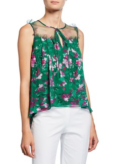 Marchesa Notte Floral Printed Burnout Chiffon Sleeveless Blouse with Front Tie
