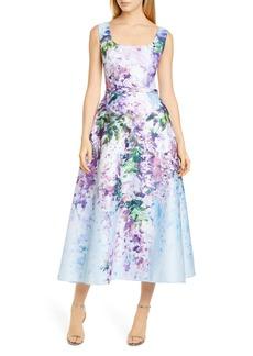 Marchesa Notte Floral Satin Midi Dress