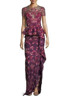 Marchesa Notte Floral Scuba-Knit Peplum Gown