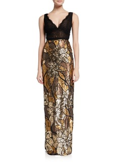 1a7d9304dc Marchesa Notte Floral Sequin V-Neck Sleeveless Column Gown w/ Lace Bodice