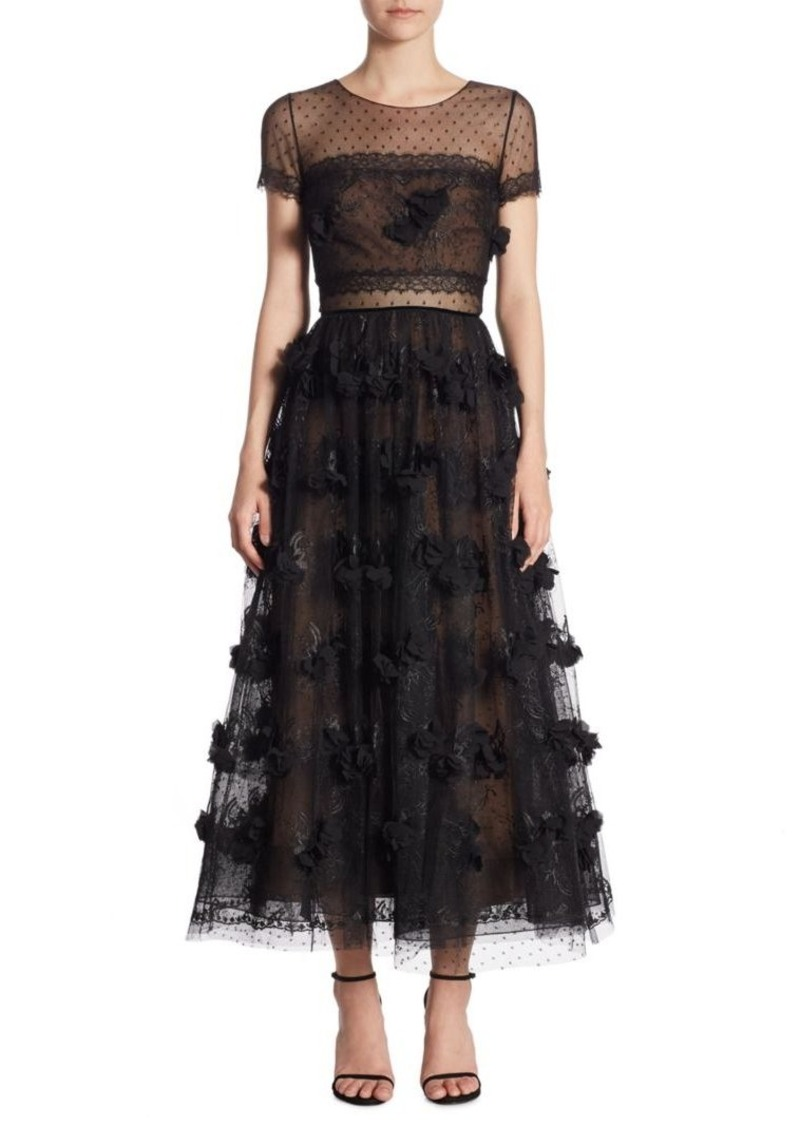 Sale Marchesa Marchesa Notte Floral Tea Length Lace Dress