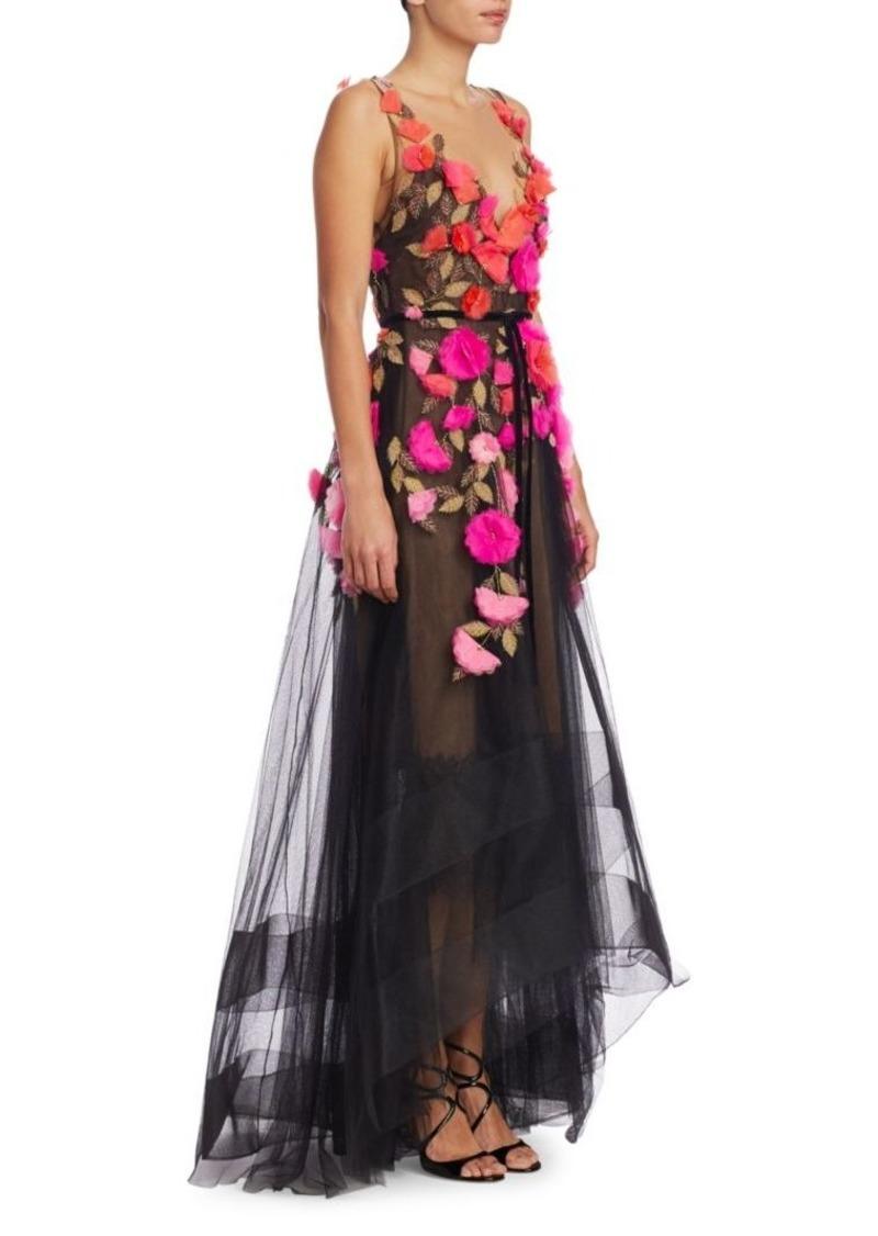 2b32022f Marchesa Floral V-Neck Lace Gown | Dresses