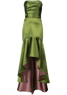 Marchesa fluted asymmetric-hem gown