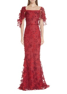 Marchesa Notte Flutter Sleeve Embroidered Column Gown