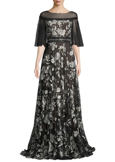 Marchesa Flutter-Sleeve Floral Embroidered Flocked Tulle Gown