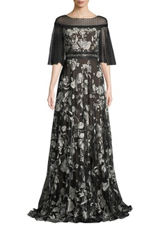 Marchesa Notte Flutter-Sleeve Floral Embroidered Flocked Tulle Gown