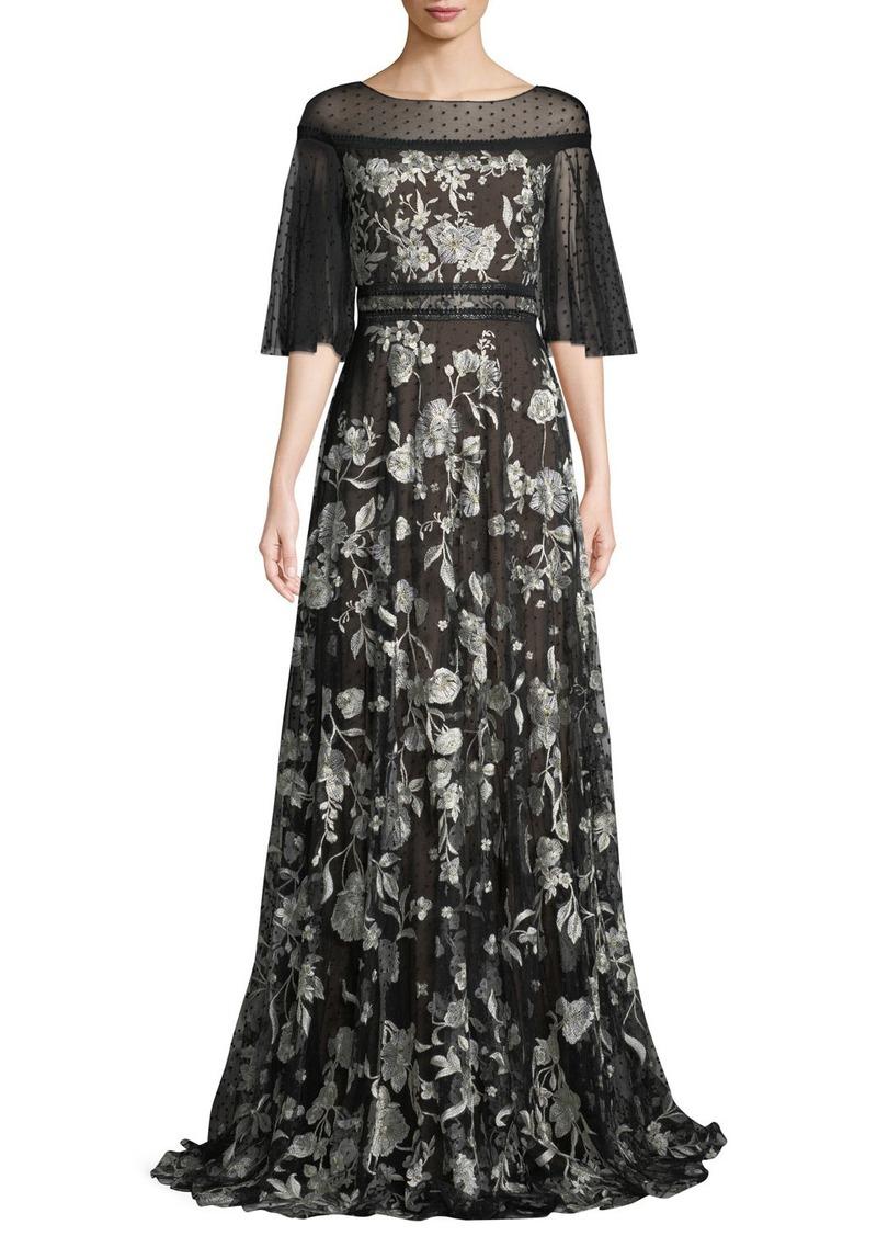 058be7f6 Marchesa Marchesa Notte Flutter-Sleeve Floral Embroidered Flocked ...