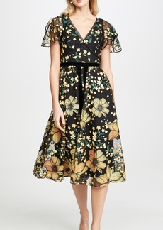 Marchesa Notte Flutter Sleeve V Neck Cocktail Dress