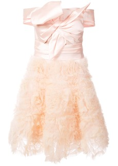 Marchesa Notte frill-embroidered dress - Pink & Purple