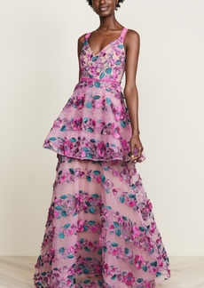 Marchesa Notte Fringe Floral Tiered Gown