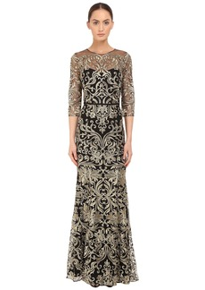 Marchesa Notte Fully Embroidered Gown with Long Sleeves and High Neckline