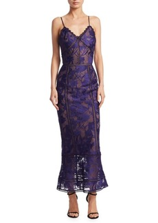 Marchesa Notte Giupure Lace Tea-Length Dress