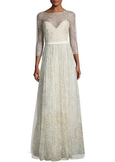 Marchesa Notte Glitter Tulle Sweetheart Illusion Gown